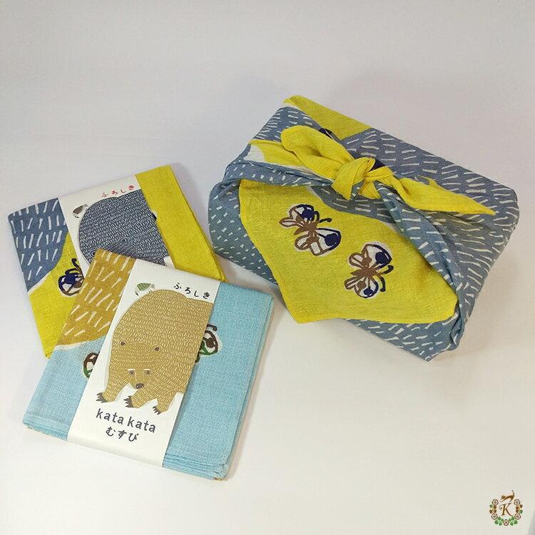 日本製手拭巾包巾➜kata kata【熊與鳥兒玩耍中】