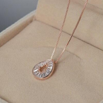 ~純銀項鍊 鍍18K金鑲鑽吊墜~  生日情人節 女飾品2色73dn117~ ~~米蘭 ~