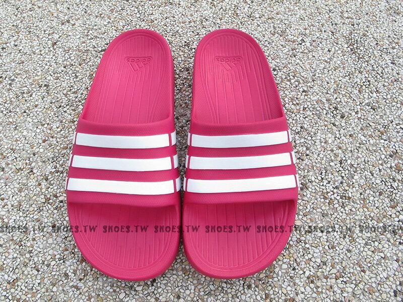 Shoestw【G06797】ADIDAS DURAMO K SLIDE 拖鞋 一體成型 桃紅白 大童 1