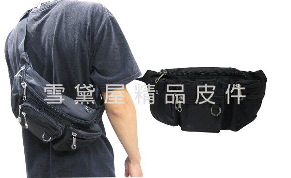 ~雪黛屋~SPYWALK臀包大容量內可放5.5寸手機隱藏水瓶網袋胸前包防水尼龍布貼身防盜隨身物品014S2995