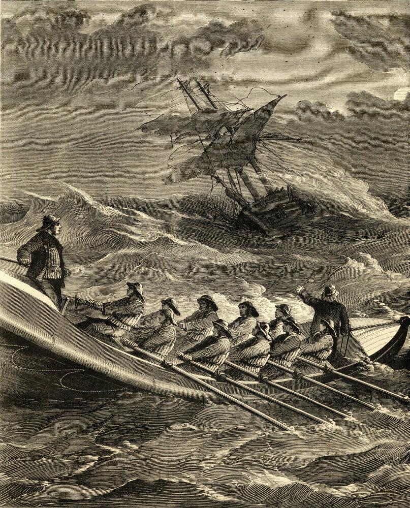 Men in row boat in a storm
