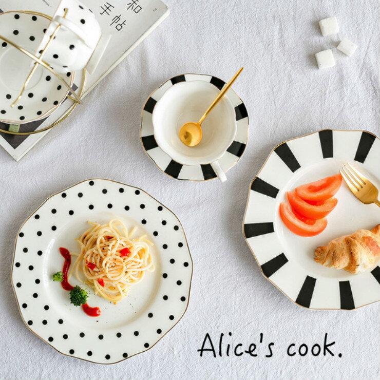 歐美 黑白赫本風復古經典骨瓷下午茶系列 蛋糕盤 點心盤 咖啡杯 花茶杯 居家美器