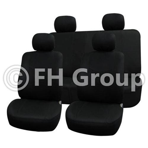 FH-FB050114 Flat Cloth Car Seat Covers, Full Set with Solid Bench, Black