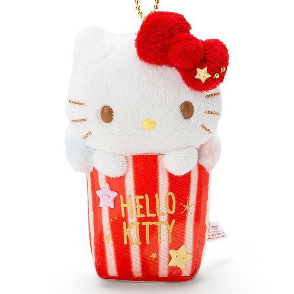 Hello Kitty玩偶吊飾-爆米花,鑰匙圈/吊飾/玩偶/交換禮物/禮品/包包吊飾,X射線【C312728】