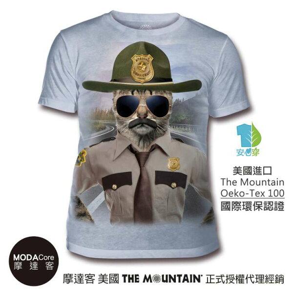 【摩達客】(預購)美國TheMountain都會系列警長貓中性修身短袖T恤
