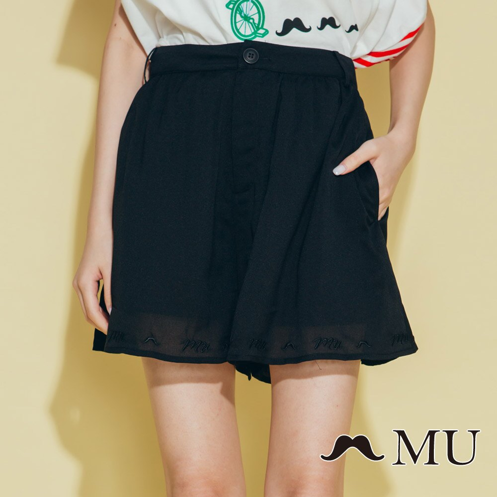 【MU】素面擺百搭低調刺繡短褲裙(2色)8325163 0