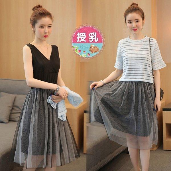 *漂亮小媽咪*韓國兩件式蕾絲罩衫無袖紗裙孕婦裝喇叭袖哺乳衣晚宴服B0036