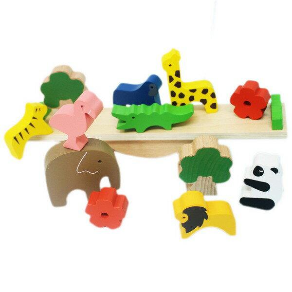 日系木製動物平衡積木一盒入{促450}桌遊趣味平衡木玩具~YF15824