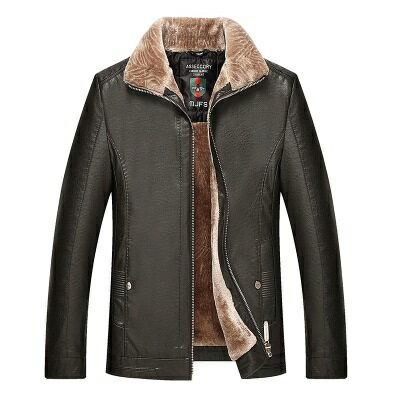 皮衣夾克外套-皮毛一體加厚翻領男夾克3色73pn18【獨家進口】【米蘭精品】 2