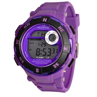 【Morris K】羅志祥代言 獨佔時刻運動潮流電子錶-紫/50mm MK88188-PO