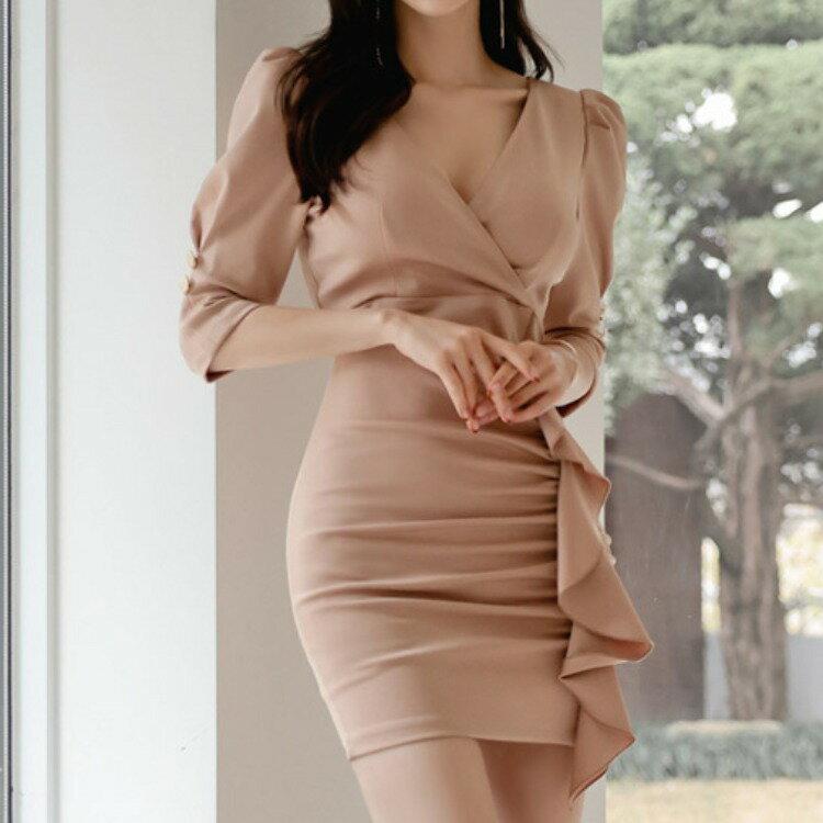 2021新款韓版OL氣質V領修身收腰抽褶荷葉邊包臀中袖連衣裙女