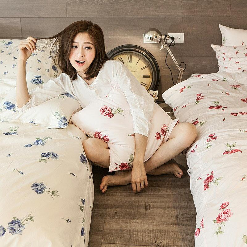 熱賣!床包  /  雙人-100%精梳棉【玫果雪酪-粉】含兩件枕套,在巴黎遇見系列,浪漫碎花,戀家小舖台灣製 3