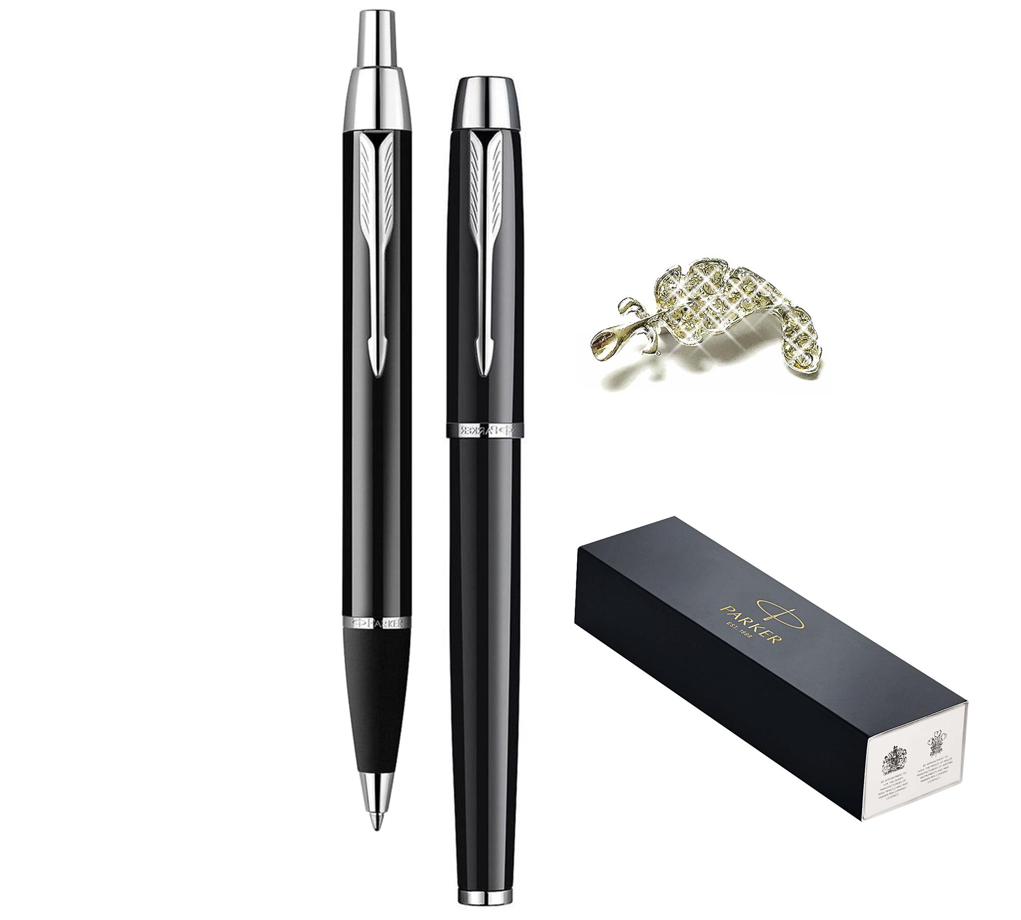 be65c0b56f7d Premium Gift Pens Set Black with Chrome Trim Finish IM Ballpoint and IM  Rollerball Medium Nib