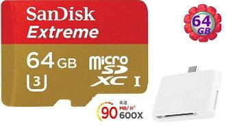 送T04 OTG 讀卡機 SanDisk 64GB 64G microSDXC【90MB/s】Extreme 600X microSD micro SD SDXC UHS UHS-I 4K U3 Cl..