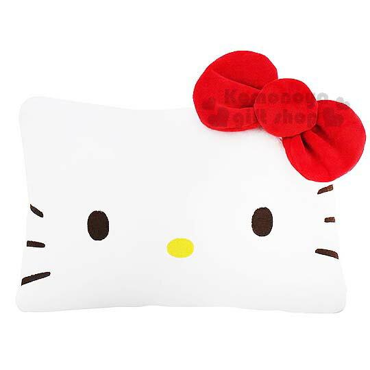 〔小禮堂〕Hello Kitty 造型抱枕《白.蝴蝶結.方形.大臉》