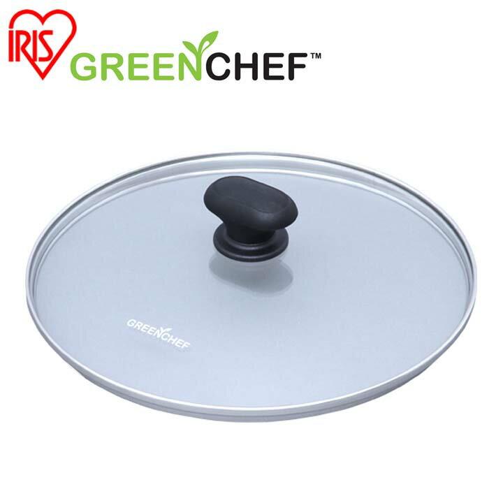 日本必買 免運/代購-日本IRIS OHYAMA/GREEN CHEF/鑽石塗層陶瓷鍋專用鍋蓋/GC-GL-26 /26公分/527511