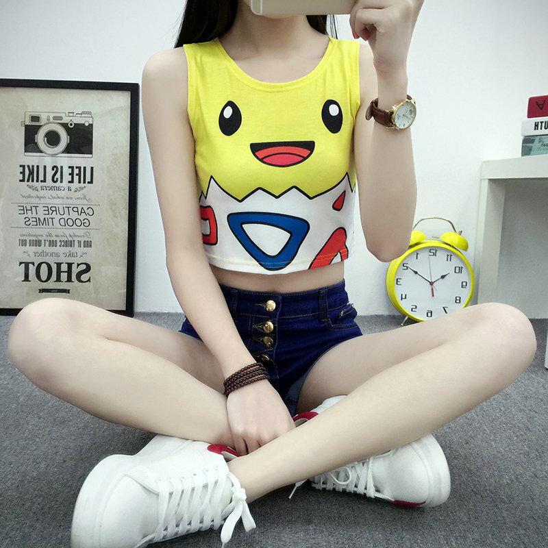 網路熱門話題款式 寶可夢 pokemon go 無袖圓領貼身波克比印花性感神奇寶貝背心T恤