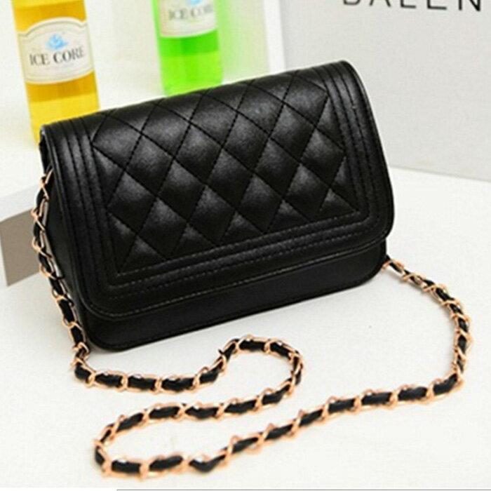 糖衣子輕鬆購【DZ0229】歐美時尚菱格紋鍊條包潮流單肩包斜背包
