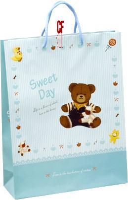 紙袋2K~20入~玩偶熊粉藍~直~棉把手 pbag~027