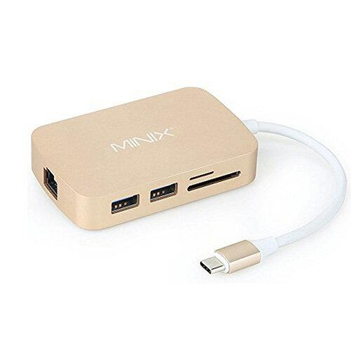 【美國代購】MINIX NEO C, USB-C 多功能集線器 with VGA / RJ45網路 - Gold (適用 MacBook)