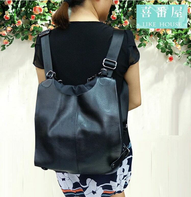 【喜番屋】真皮頭層牛皮多功能大容量女士肩背包手提包手提袋後背包間背包斜背包側背包女包LB178