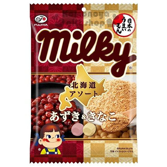 〔小禮堂〕日本原產 不二家Fujiya Milky 北海道雙味牛奶糖《硬糖.85g.袋裝》紅豆黃豆口味