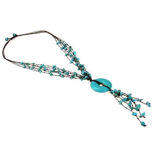 Multi Strand Turquoise Donut Wax Rope Necklace 2