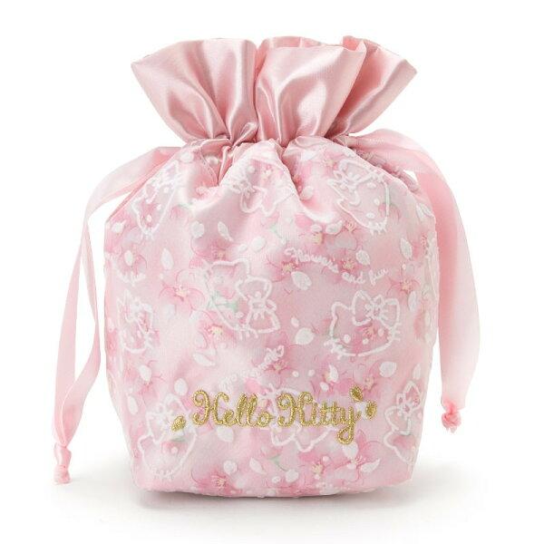 X射線【C378281】HelloKitty縮口袋-櫻花,美妝小物包筆袋面紙包化妝包零錢包收納包皮夾手機袋鑰匙包