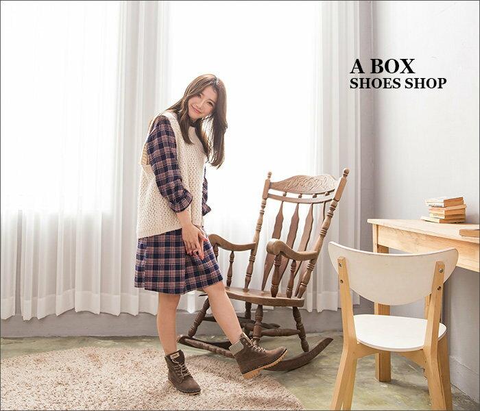 【KDLF2107】基本款經典流行 質感麂皮拼接格紋 繫帶個性百搭短筒靴 短靴 工作靴 3色 1