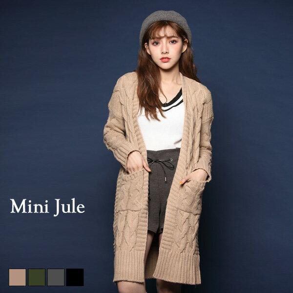 外套 氣質麻花雙口袋長版毛衣外套 小豬兒 MiNi Jule 【WUD72000308】