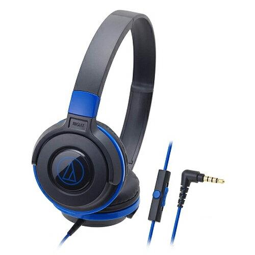 鐵三角ATH-S100iS耳罩式耳麥藍【三井3C】