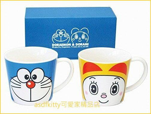 asdfkitty可愛家☆日本金正陶器哆啦A夢與哆啦美陶瓷對杯馬克杯-009750-日本製