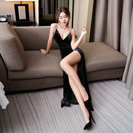 禮服 夜店長裙氣質KTV夜場晚禮服長款顯瘦吊帶金絲絨夜總會性感洋裝