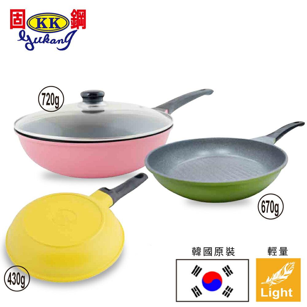 Chef Run韓國原裝超輕量鈦金鍋3鍋組(28cm炒鍋+28cm煎鍋+20cm小煎鍋+玻璃鍋蓋)