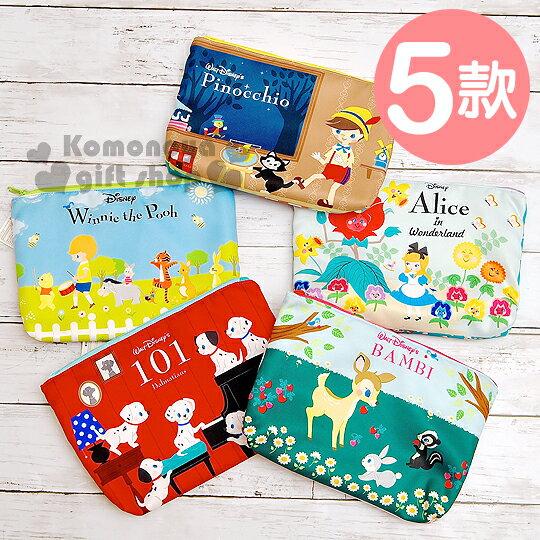 〔小禮堂〕迪士尼 棉質化妝包《5款選1.大.小熊維尼/小鹿斑比/小木偶/101忠狗/愛麗絲》