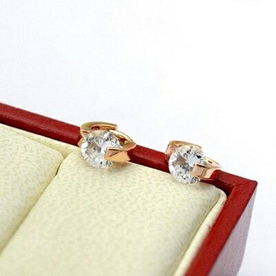 ~玫瑰金純銀耳環鑲鑽耳飾~ 精緻甜美氣質母親節生日情人節 女飾品73gt213~ ~~米蘭