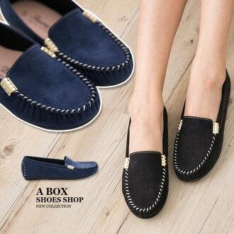 格子舖*【AW2315】MIT台灣製 簡約質感絨布素面 金屬車線設計 平底包鞋 豆豆鞋 懶人便鞋 2色