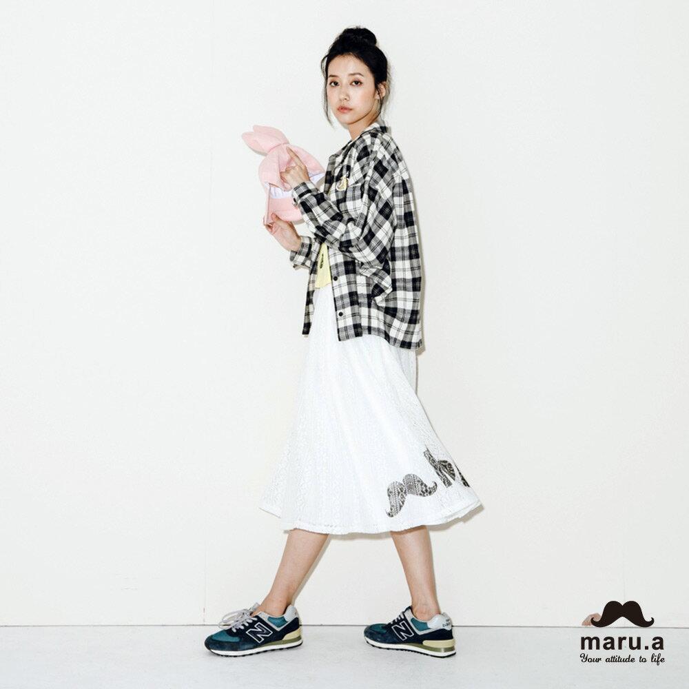 【maru.a】手繪LOGO印花布蕾絲長裙7926212 0