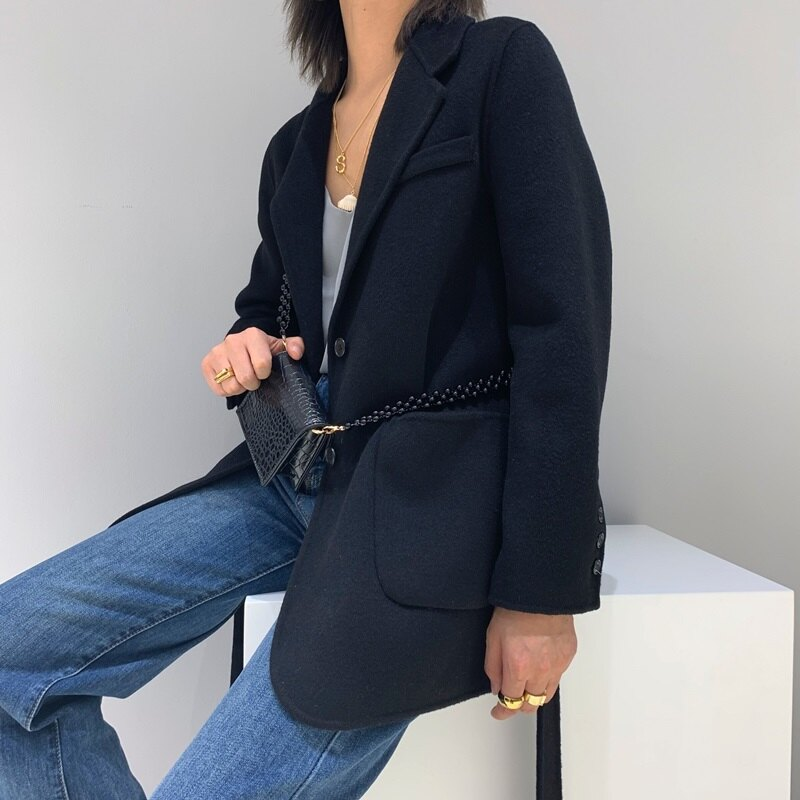 毛呢大衣羊毛外套-黑色寬鬆大口袋短版女外套73wb42【獨家進口】【米蘭精品】 0