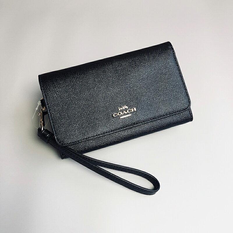 美國百分百【全新真品】COACH 女款 皮夾 長夾 錢包 真皮 皮包 手拿包 馬車 logo 黑色 AA68
