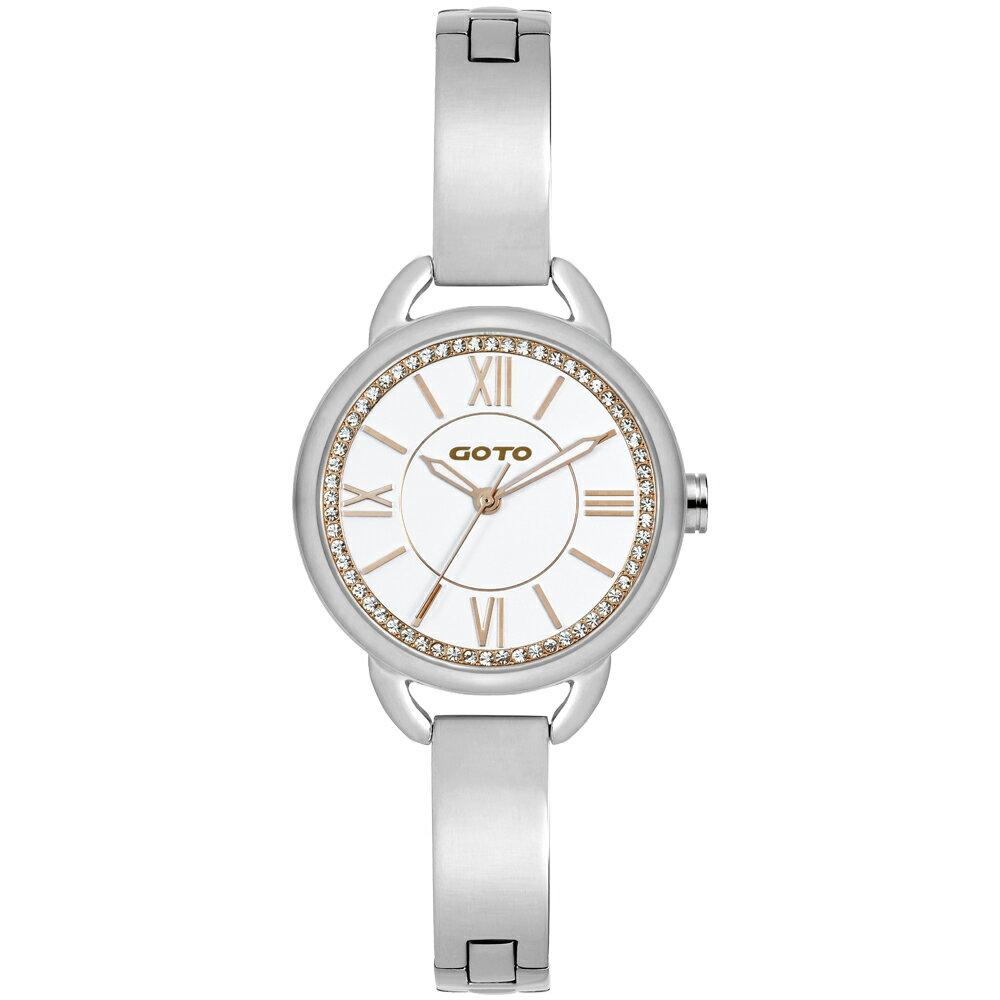 【易奇網】GOTO 鏤花瀰漫晶鑽時尚腕錶-IP玫瑰金錶殼x高雅氣質首飾錶帶x白色星鑽面板/32mm