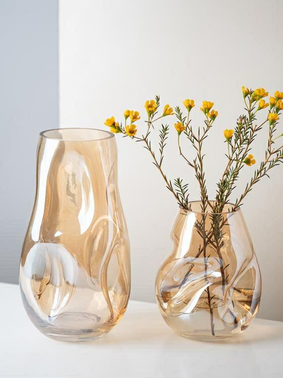 異形不規則輕奢簡約玻璃花瓶擺件北歐客廳創意鮮花水培養干花插器 摩可美家