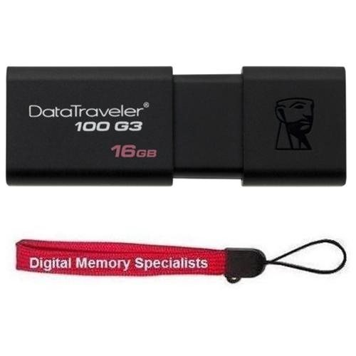 Kingston 16GB DataTraveler 100 G3 16G USB 3.0 100MB/s DT100G3 Flash Pen Thumb Drive DT100G3/16GB + USB Lanyard