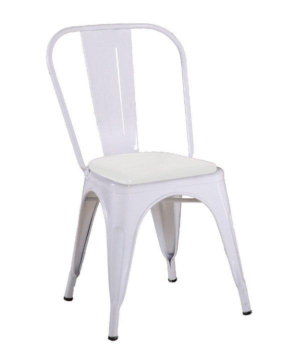 ~尚品傢俱~JF~989~14 強尼白色皮面餐椅