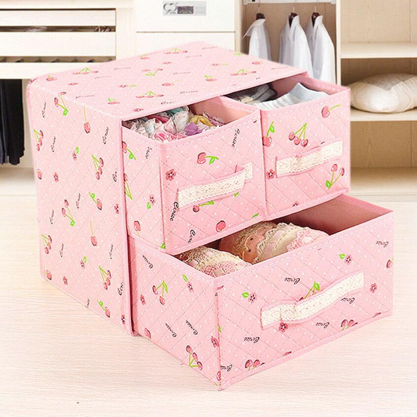 簡約加厚兩層抽屜衣物收納盒 摺疊箱 內衣褲收納 襪子收納