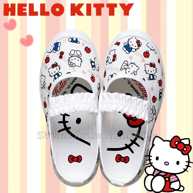 日本 sanrio 三麗鷗 Hello Kitty 兒童 室內鞋 / 休閒鞋 / 帆布鞋 / 鞋子 《 蘋果款 》 ★ 日本製 ★ 夢想家精品生活家飾 - 限時優惠好康折扣