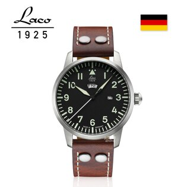 【完全計時】手錶館│Laco朗坤Genf飛行員軍事風格腕錶石英錶男錶皮帶黑紅棕42mm(861807)