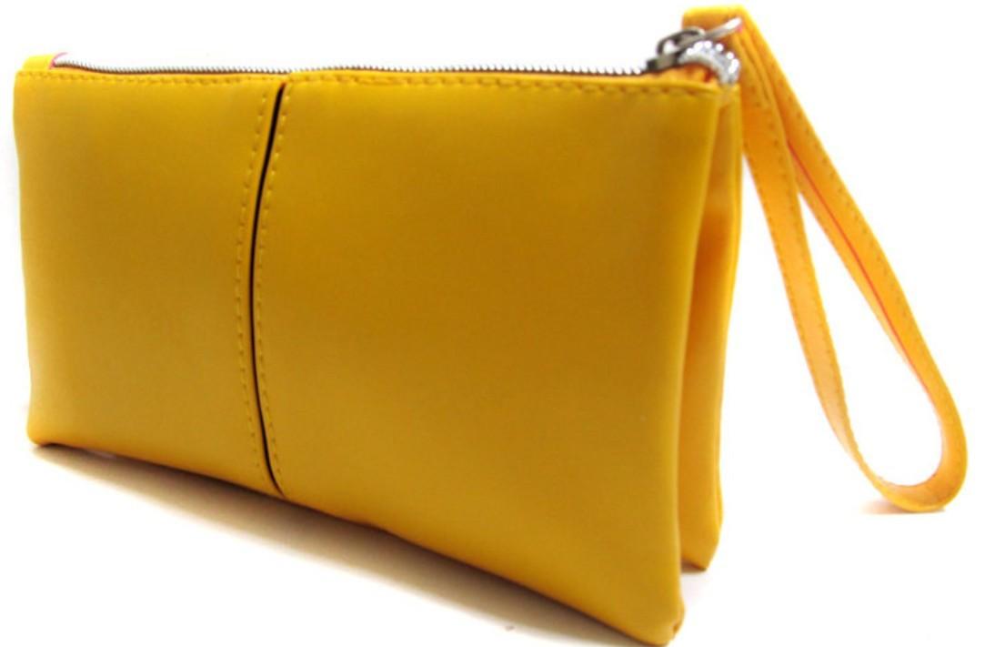 新款韓版拉鍊新pu皮手機包女式手拿包-黃色