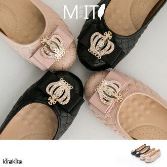 娃娃鞋 特價優惠-MIT華麗皇冠鑽格紋車縫線Q底娃娃鞋【011600072】