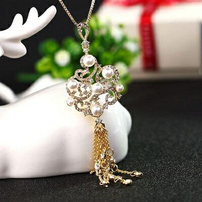 ~珍珠項鍊 毛衣鍊~ 奢華中國風鑲鑽情人節生日 女飾品2色73gc154~ ~~米蘭 ~
